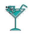 tropical cocktail cup with hibiscus flower vector image