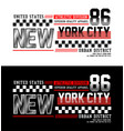 typography new york city 86 t-shirt graphics vector image