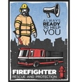 Vintage Firefighting Colorful Poster vector image vector image