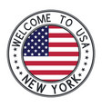 welcome to new york usa travel stamp vector image vector image