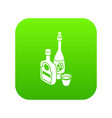wine whiskey bottle icon green vector image