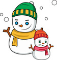 Winter Snowmen vector image vector image