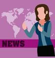 woman journalist cartoon vector image vector image