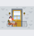 woman reading on balcony people relax sitting on vector image vector image