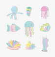 sea animal hand drawing cartoons vector image