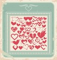 Retro poster with heart icons for Valentines day vector image