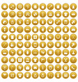 100 woman icons set gold vector image vector image