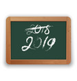 2018 crossed out and 2019 chalk calligraphy on vector image vector image
