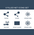 6 net icons vector image vector image