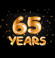 65 years golden anniversary logo vector image