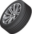 Alloy wheel with low profile tire vector image vector image