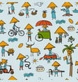 asian lifestyle people seamless pattern for your vector image vector image