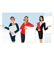 beautiful woman giving presentation vector image