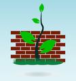brick wall grass concept vector image vector image