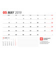 calendar template for may 2019 business planner vector image