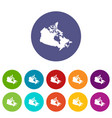canada map icons set flat vector image vector image
