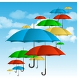 ccolorful umbrellas flying high vector image