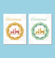 christmas greeting card with low poly reindeer vector image vector image