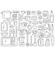 cooking tools and ingredients food prepare vector image