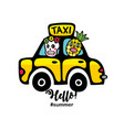 creative summer print with yellow taxi car and vector image vector image