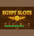 egyptian slots on background and casino icons vector image