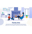 family happy time flat banner poster vector image vector image