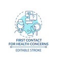 first contact for health concerns blue concept vector image vector image