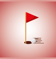 golf hole flag and ball blurred color background vector image vector image