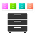 grey furniture nightstand icon isolated on white vector image vector image