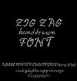 grunge zigzag font white hand drawn script vector image