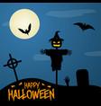 happy halloween poster on dark moon background vector image vector image