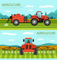 horizontal flat banner set agriculture and farming vector image