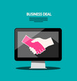 internet business deal flat design with shaking vector image vector image