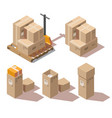 isometric cardboard boxes and hand pallet truck vector image