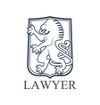 Lawyer icon or emblem with heraldic lion vector image vector image