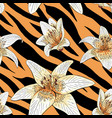 lily tiger type on tiger skin pattern seamless vector image