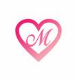 m letter in pink love sign logo vector image