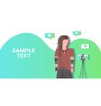 man blogger recording video blog with digital vector image vector image