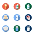 Milk product and sweet set icons in flat style vector image vector image
