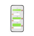 modern frameless smartphone mockup with chat vector image vector image
