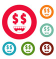 money smile icons circle set vector image vector image