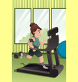 overweight person running on a treadmill in a gym vector image
