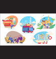 people travel in different transport sightseeing vector image vector image