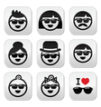 People wearing sunglasses holidays icons set vector image vector image