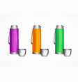 realistic detailed 3d color blank thermos template vector image vector image