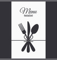 restaurant menu with fork knife and spoon vector image vector image