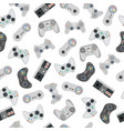 seamless pattern with retro gamepads and joysticks vector image