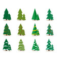 set christmas tree in flat style stylish design vector image vector image