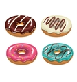 set donuts tasty white background isolated graphic vector image vector image
