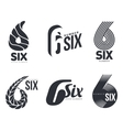 Set of black and white number six logo templates